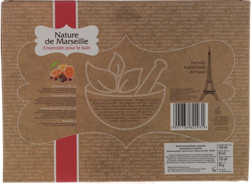 Zestaw kosmetyków o zapachu pomarańczy i żurawiny - Nature de Marseille (lot 150 ml + sh/gel 100 ml + h/cr 60 ml + soap 90 g) — фото N2