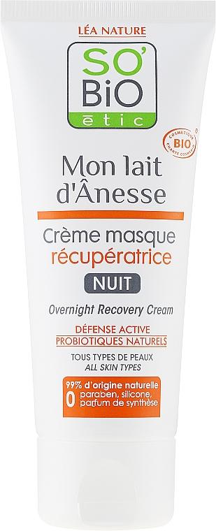 Regenerujący krem-maska na noc z oślim mlekiem - So'Bio Etic Overnight Recovery Cream — фото N2