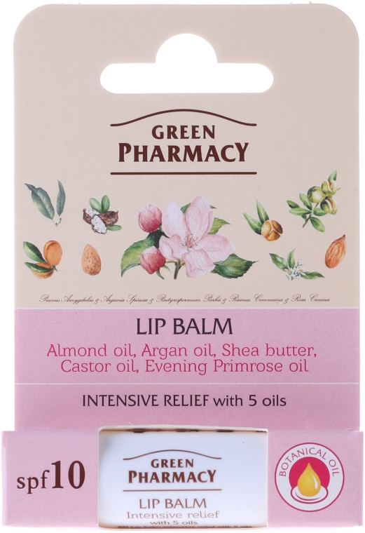 Balsam do ust z witaminą E SPF 10 - Green Pharmacy Intensive Relief Lip Balm