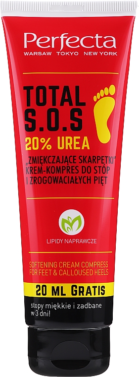 Krem-kompres do stóp i zrogowaciałych pięt Zmiękczające skarpetki - Perfecta Total S.O.S. 20% Urea
