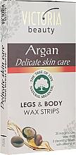 Kup Paski z woskiem do depilacji ciała i nóg z olejem arganowym - Victoria Beauty Delicate Skin Care Legs & Body Waxing Strips Argan