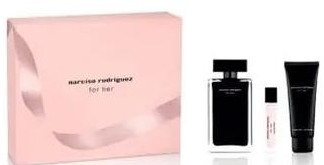 Narciso Rodriguez For Her - Zestaw (edt/100ml + edt/10ml + b/lot/75ml) — фото N2