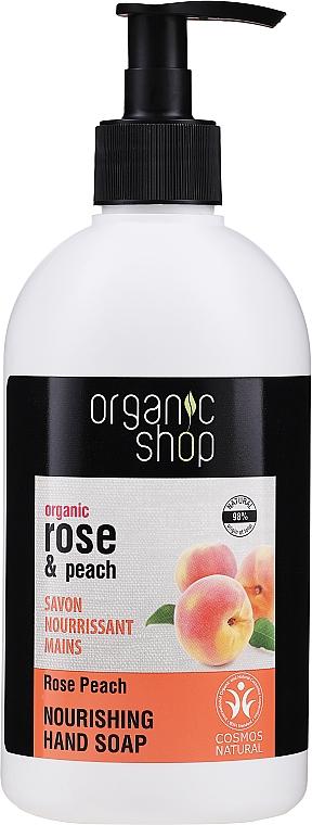 Odżywcze mydło w płynie do rąk Róża i brzoskwinia - Organic Shop Organic Rose and Peach Hand Soap