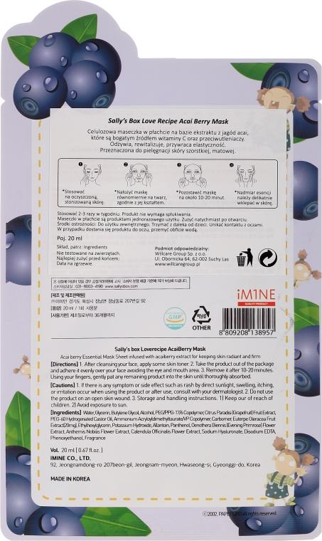 Odżywczo-rewitalizująca celulozowa maska w płachcie do twarzy z wyciągiem z jagód acai - Sally's Box Loverecipe Acai Berry Mask — фото N2
