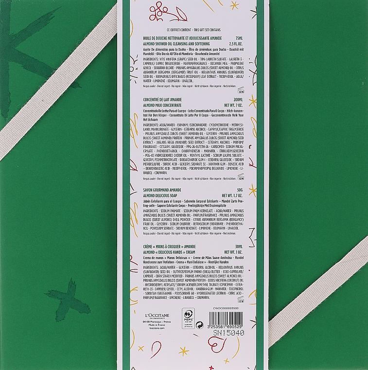 Zestaw - L'Occitane Almond Body Box (sh/oil 75 ml + b/milk 200 ml + soap 50 g + h/cr 30 ml + box) — фото N12