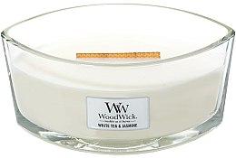 Kup Świeca zapachowa w szkle - WoodWick Hearthwick Flame Ellipse Candle White Tea & Jasmine