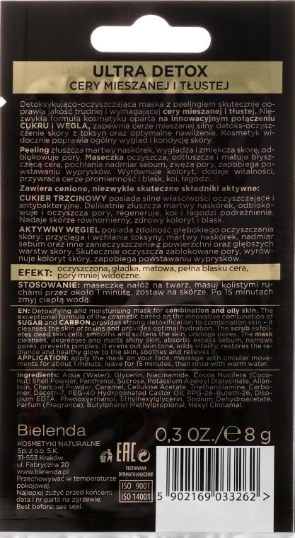 Detoksykująco-oczyszczająca maska i peeling 2 w 1 do cery mieszanej i tłustej - Bielenda Black Sugar Detox (miniprodukt) — фото N2