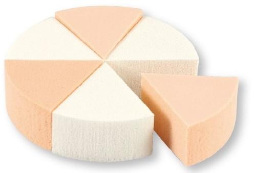 Gąbki do makijażu, 35821, białe + beżowe, 6 szt. - Top Choice Foundation Sponges