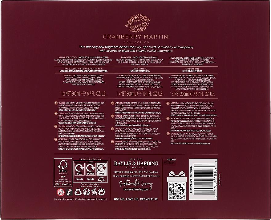 Zestaw - Baylis & Harding Cranberry Martini Limited Edition Set (sh/gel/300ml + sh/cr/200ml + h/b/lot/20ml) — фото N2