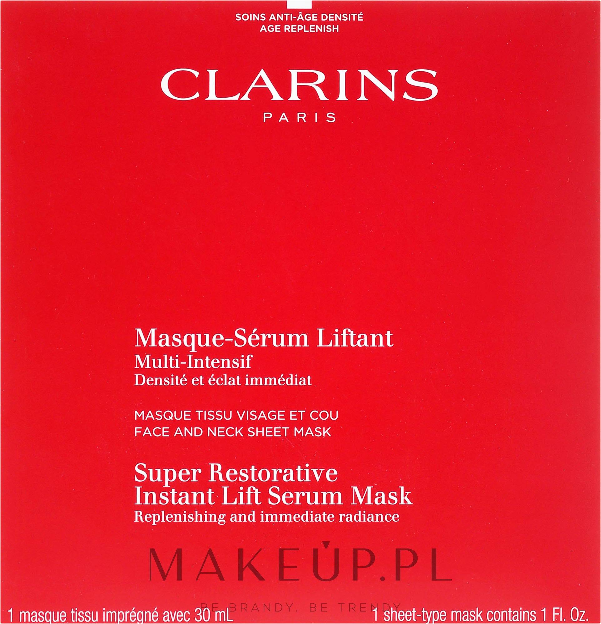 Regenerująco-liftingująca maska-serum natychmiastowo rozświetlająca do twarzy i szyi - Clarins Restorative Instant Lift Serum Mask — фото 30 ml