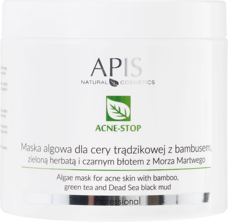 Maska algowa do cery trądzikowej z bambusem, zieloną herbatą i czarnym błotem z morza martwego - APIS Professional Acne-Stop