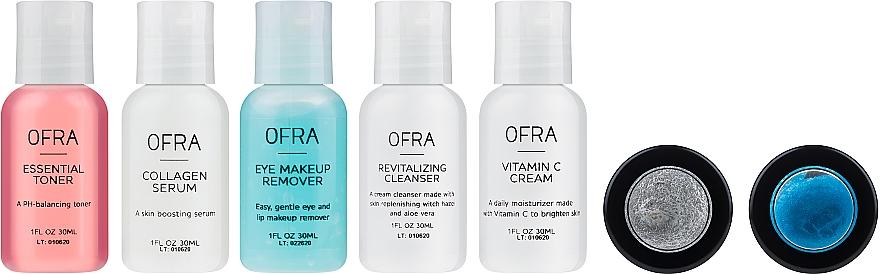 Zestaw - Ofra Skin Care Kit Dry (cleanser/30ml + f/ton/30ml + eye/remover/30ml + f/cr/30ml + ser/30ml + f/peel/7ml + b/scrub/7ml + bag) — фото N2