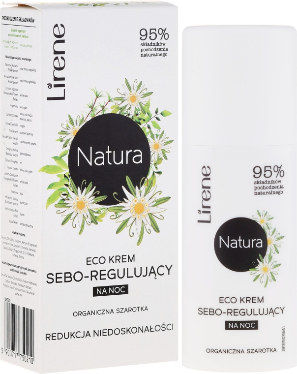 Ekokrem seboregulujący na noc Redukcja niedoskonałości Organiczna szarotka - Lirene Natura Eco Cream