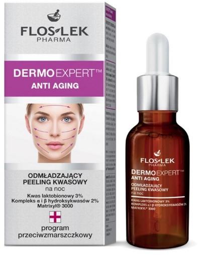 Odmładzający peeling kwasowy na noc - Floslek Dermo Expert Anti Aging Peeling