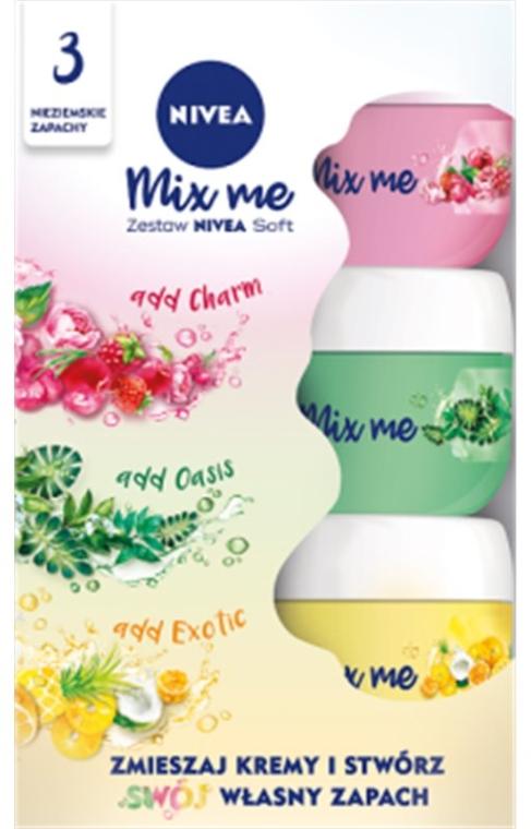 Zestaw kremów do twarzy, ciała i dłoni - Nivea Soft Mix Me (3 x cr 50 ml)