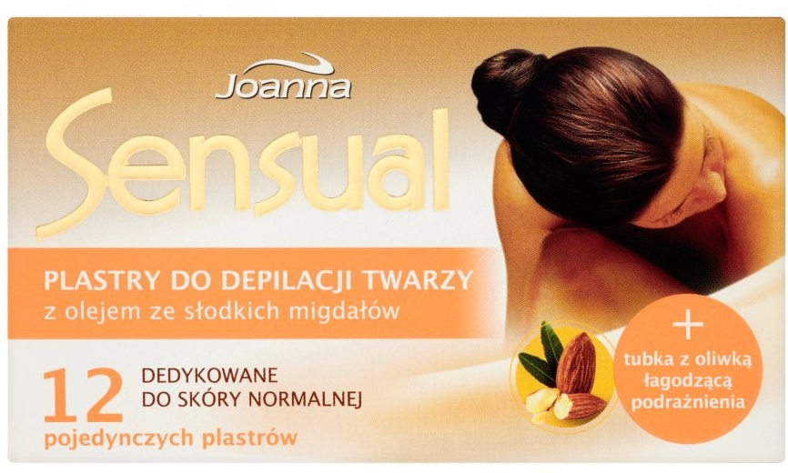 Plastry do depilacji twarzy z olejem ze słodkich migdałów + oliwka łagodząca podrażnienia - Joanna Sensual