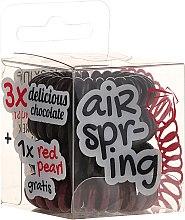 Kup Gumki do włosów, ciemnobrązowe + czerwone, 4 szt. - Hair Springs