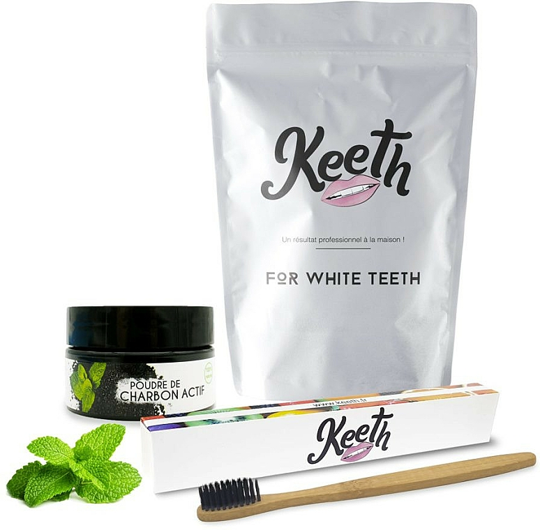 Zestaw - Keeth Mint Charcoal Kit (toothbrush/1pc + toothpowder/15g + pack) — фото N1