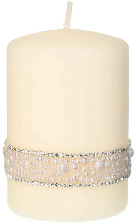 Świeca dekoracyjna kremowa, 7x14 cm - Artman Crystal Pearl — фото N1