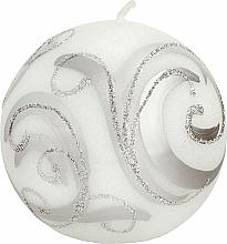 Kup Świeca dekoracyjna, kula biała z aplikacją, 8 cm - Artman Christmas Ornament