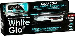 Kup Zestaw do higieny jamy ustnej z czarno-białą szczoteczką - White Glo Charcoal Bad Breath Eliminator (t/paste 100 ml + t/brush)