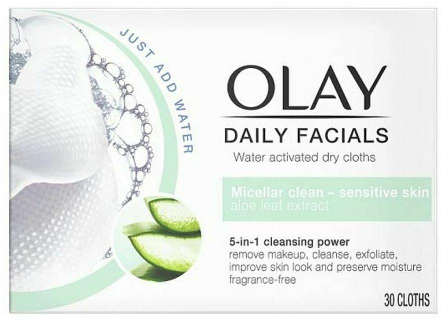 Chusteczki micelarne do demakijażu skóry wrażliwej - Olay Cleanse Daily Facials Cloths Sensitive — фото N1