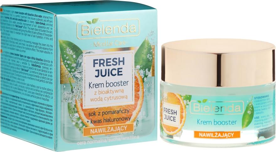 Nawilżający krem-booster do cery normalnej, suchej i wrażliwej z bioaktywną wodą cytrusową - Bielenda Fresh Juice Booster