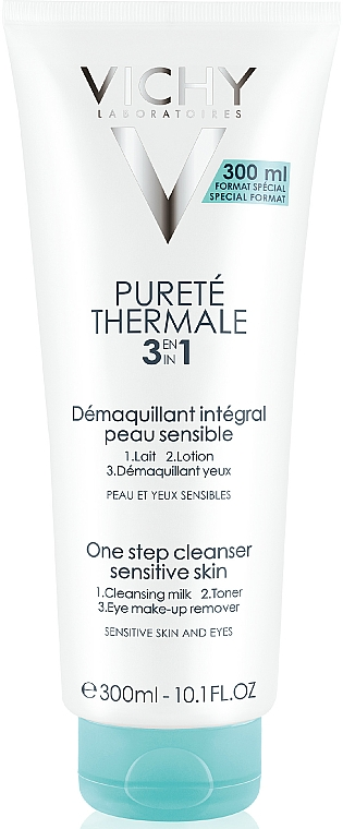Preparat do demakijażu twarzy i oczu do skóry wrażliwej - Vichy Puretè 3 in 1 One Step Cleanser