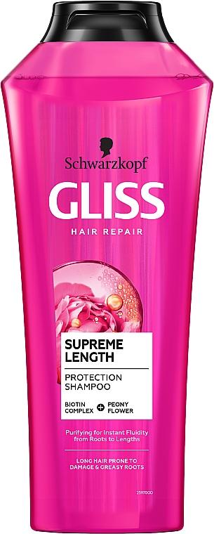 Wzmacniający szampon do włosów długich, skłonnych do zniszczeń i przetłuszczania się u nasady - Schwarzkopf Gliss Kur Supreme Length Shampoo — фото N1