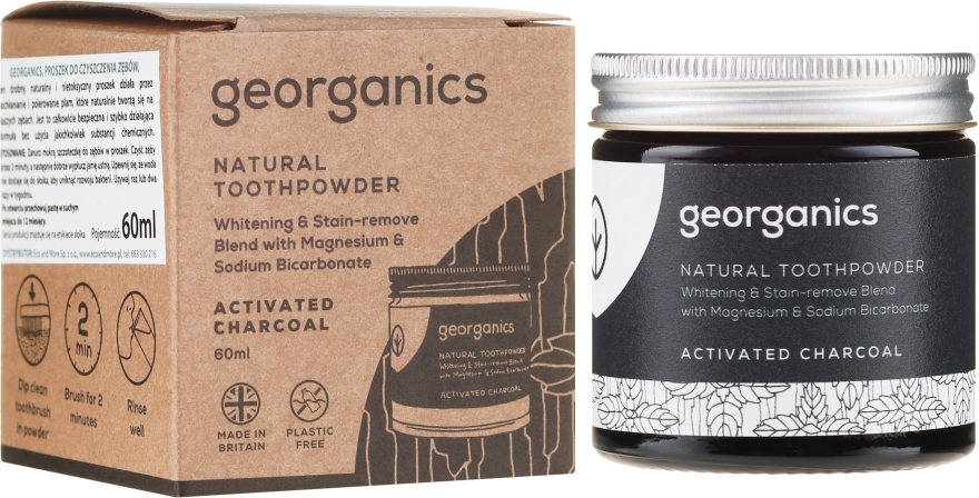 Naturalny proszek do zębów - Georganics Activated Charcoal Natural Toothpowder — фото N1