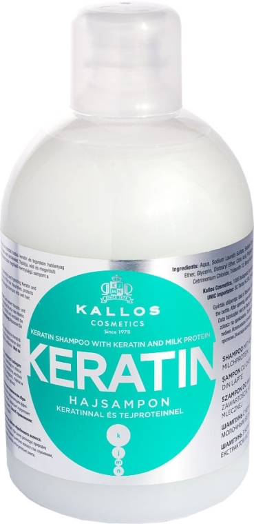 Szampon z keratyną i proteinami mlecznymi - Kallos Cosmetics Keratin Shampoo With Keratin And Milk Protein