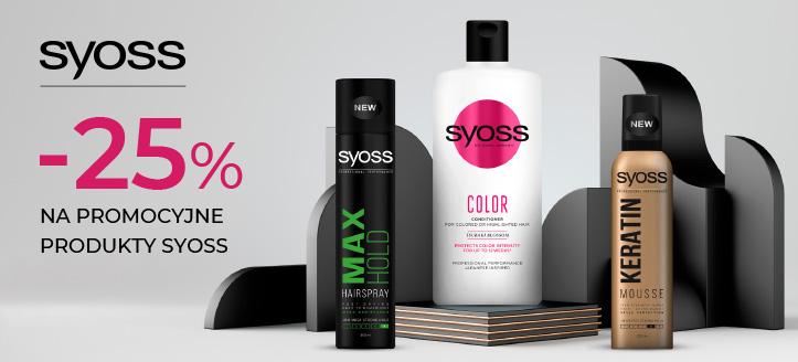 Zniżka 25% na promocyjne produkty Syoss. Сeny uwzględniają zniżkę.