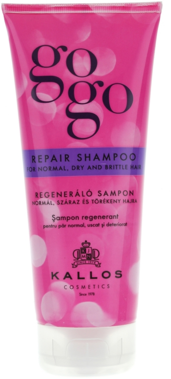 Regenerujący szampon do włosów normalnych, suchych i łamliwych - Kallos Cosmetics Gogo Repair Shampoo
