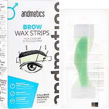 Kup PRZECENA! Paski z woskiem do regulacji brwi dla mężczyzn - Andmetics Brow Wax Strips Men (4 x 2 strips + 4 x 2 strips + 4 x wipes) *