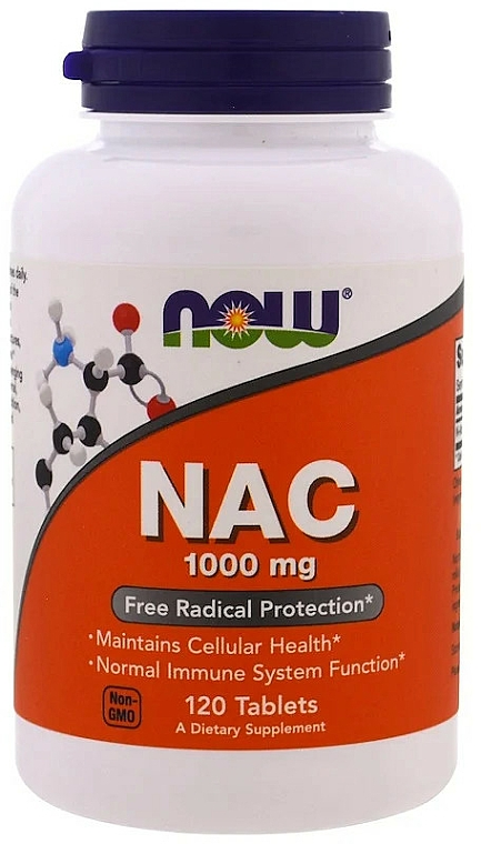 Suplement diety NAC, 1000 mg - Now Foods NAC Tablets — фото N1