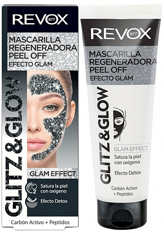 Regenerująca czarna maska peel-off do twarzy - Revox Glitz & Glow Regenerating Peel Off Mask Black  — фото N1