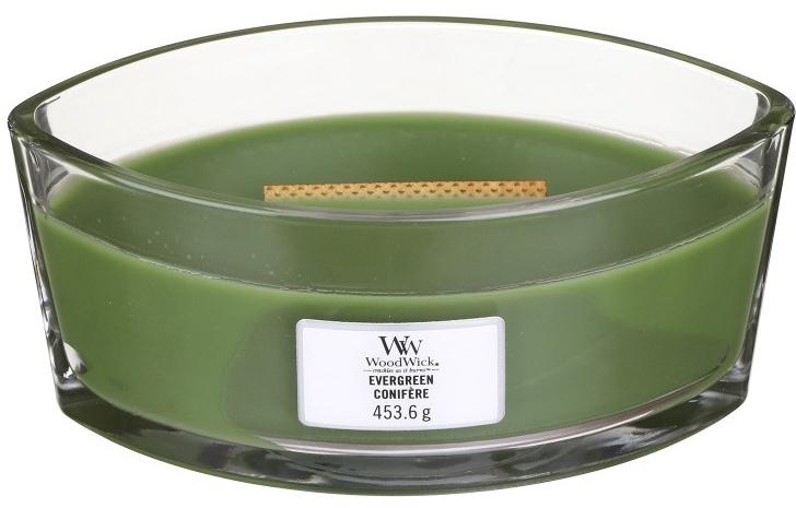 Świeca zapachowa w szkle - Woodwick Hearthwick Flame Ellipse Candle Evergreen — фото N1