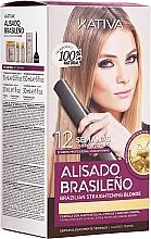 Kup Zestaw do keratynowego prostowania włosów dla blondynki - Kativa Alisado Brasileno Straighten Blonde (shm 15 ml + mask 150 ml + shm 30 ml + cond 30 ml)