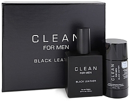 Kup Zestaw - Clean Black Leather Men (edt/100ml + deo/75ml)