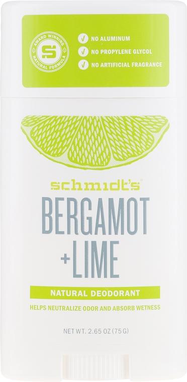Naturalny dezodorant - Schmidt's Naturals Deodorant Bergamot Lime Stick