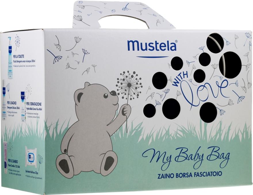 Zestaw - Mustela My Baby Bag Set (water/300ml + gel/shm/200ml + f/cr/40ml + b/cr/50ml + wipes/25pcs + bag)
