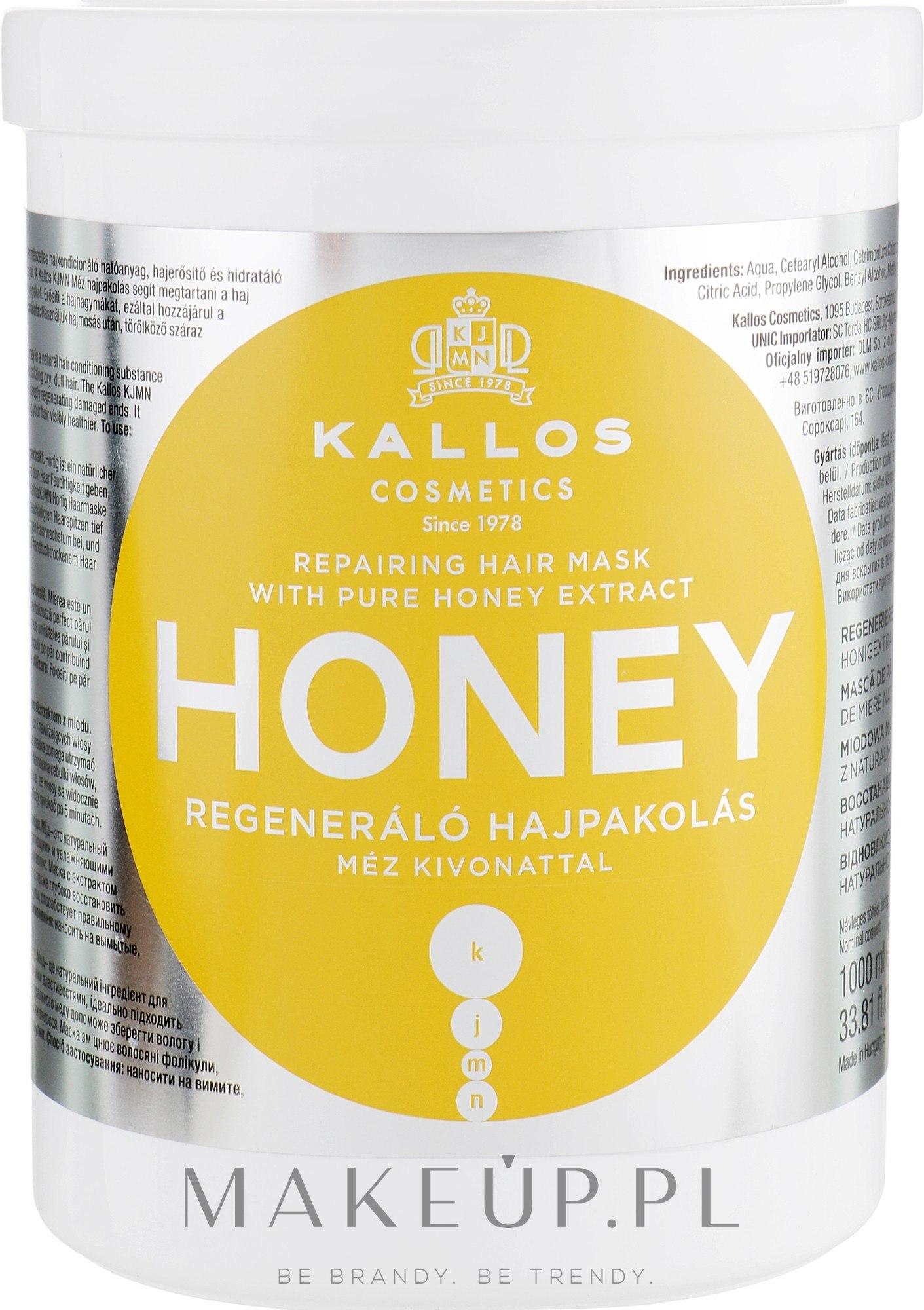 Regenerująca maska do włosów Miód - Kallos Cosmetics Repairing Hair Mask — фото 1000 ml