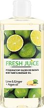 Kup Olejek do pielęgnacji i masażu ciała Limonka, imbir i olej arganowy - Fresh Juice Energy Lime&Ginger+Argan Oil