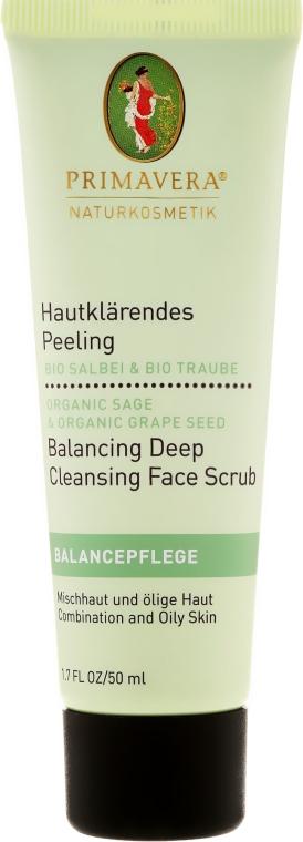 Głęboko oczyszczający peeling do twarzy do cery tłustej i mieszanej - Primavera Balancing Deep Cleansing Face Scrub — фото N1