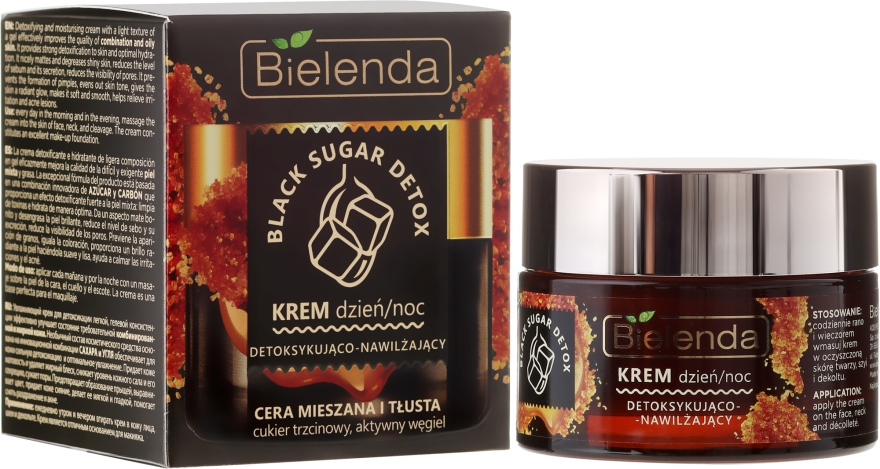 Detoksykująco-nawilżający krem na dzień i noc do cery mieszanej i tłustej - Bielenda Black Sugar Detox Cream