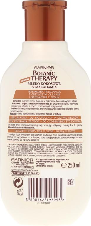 Szampon odżywiający i nadający sprężystość włosom suchym Mleko kokosowe i olej makadamia - Garnier Botanic Therapy Coconut Milk & Macadamia Shampoo — фото N3