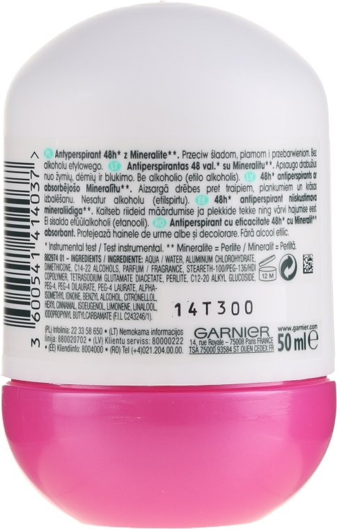 Antyperspirant w kulce - Garnier Mineral Invisible Fresh Aloe 48h Non Stop — фото N2
