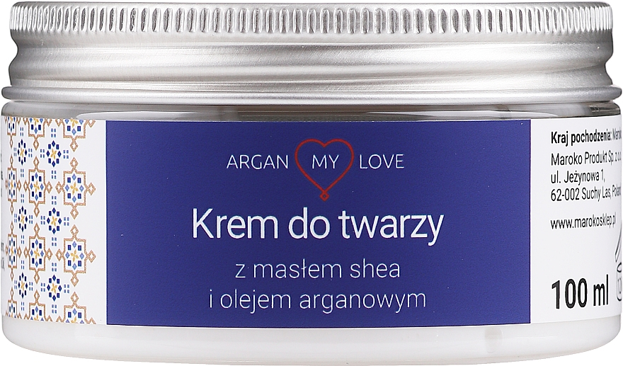 Krem do twarzy z masłem shea i olejem arganowym - Argan My Love Shea Butter & Argan Oil Face Cream