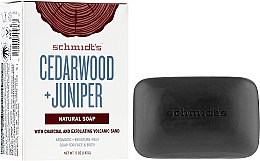 Kup Naturalne mydło w kostce Cedr i jałowiec - Schmidt's Naturals Bar Soap Cedarwood Juniper With Charcoal And Exfoliating Volcanic Sand