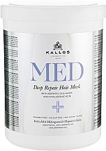 Kup Dogłębnie regenerująca maska w kremie z keratyną, kolagenem i kwasem hialuronowym do suchych i zniszczonych włosów - Kallos Cosmetics MED Deep Repair Hair Mask
